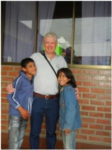 Maurice Walsh with two Bolivian friends.