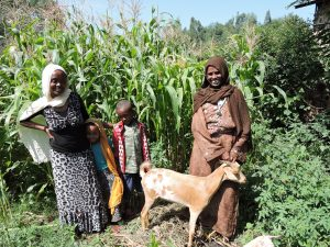 Truth about goats: Zemu and family stand next to the goat that provides their income