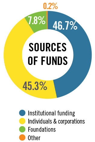 Pie chart showing the source of funds with 46.7% coming from Institutional funding, 45.3% coming from Individuals & corporations, 7.8% from Foundations and 0.2% from Other.