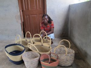 Fresh new start: Linda showcases a selection of her baskets